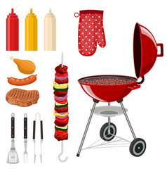 bbq barbecue elements set vector image vector image
