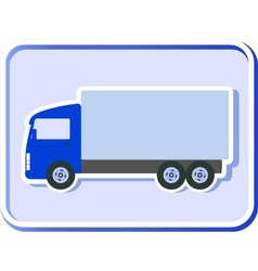button with truck silhouette vector image vector image