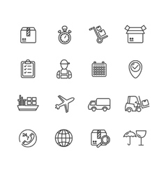 Cargo and Shipping Outline Icons Set vector image vector image