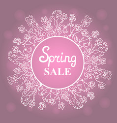 floral wreath concept design for a spring sale vector image