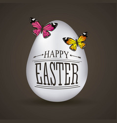 happy easter card big white eggs butterflies on vector image