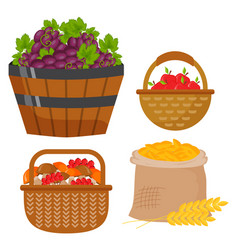 harvest flat icons harvesting equipment for vector image