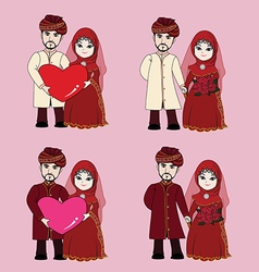 Muslim wedding couple cartoon vector image