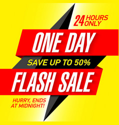 one day flash sale banner design template vector image vector image