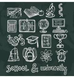 School education chalkboard icons vector image vector image