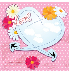 Valentines day card with heart and swallows vector image vector image