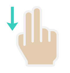 2 finger swipe down flat icon touch and gesture vector image vector image