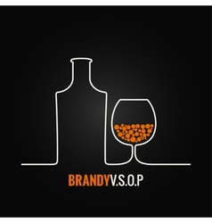 brandy glass bottle menu background vector image