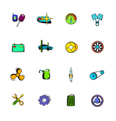 car service maintenance icons set cartoon vector image