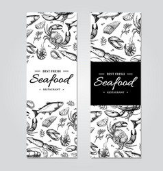 seafood banner template set hand drawn vector image