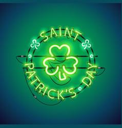 St patricks day neon sign vector