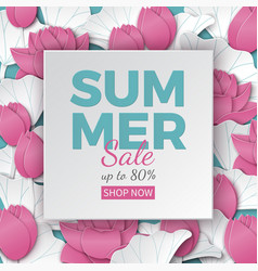 summer sale banner with paper frame and flowers vector image vector image