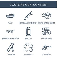 9 gun icons vector