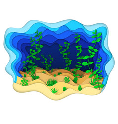 a seabed with green algae vector image