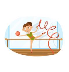 Agile young girl doing rhythmic gymnastics vector