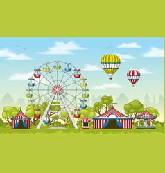 An amusement park in summer vector