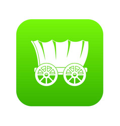 Ancient western covered wagon icon digital green vector