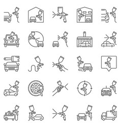 auto painting and paint spray guns outline vector image