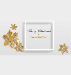 background shiny snowflakes with frame vector image