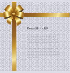 Beautiful gift certificate design gold bow corner vector
