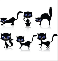 black cat cartoon collection vector image