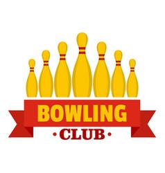 Bowling emblem logo flat style vector