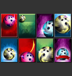 bowling poster set empty template for vector image