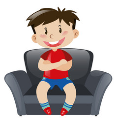 Boy in red shirt sitting on sofa vector