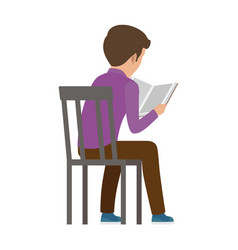 boy spends time by reading book view from back vector image
