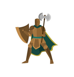 brave warrior stands in an open pose holding an vector image