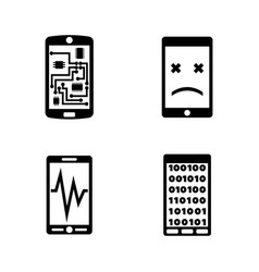 Broken smartphone phone simple related icons vector