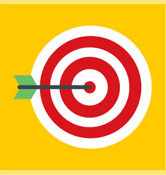 Business red target icon flat style vector
