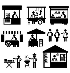 Business stall store booth market marketplace vector