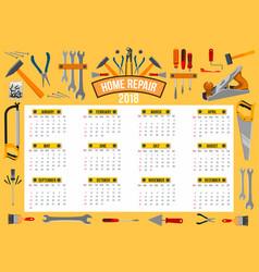 Calendar 2018 template of work tools vector