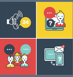 call center and online help faq technical support vector image