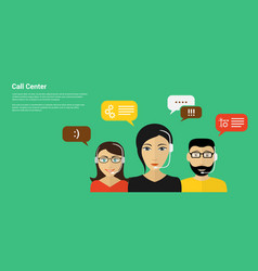 Call center banner vector