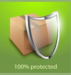 Cardboard box and glass shield icon vector