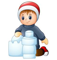 cartoon boy making snow building vector image