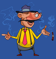Cartoon curious man moved his eyes to his nose vector
