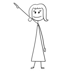 cartoon of businesswoman or woman pointing right vector image
