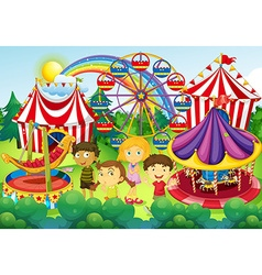 Children having fun in the circus vector image