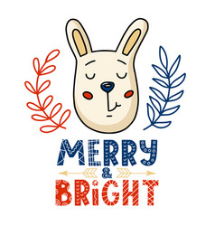 christmas card - bunny and merry bright text vector image