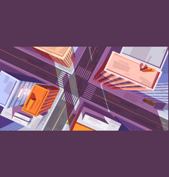 city top view with buildings and street crossroad vector image