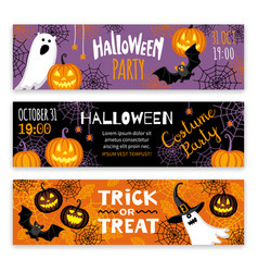 Collection of halloween banner templates vector