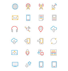 Communication Colored Outline Icons 1 vector image
