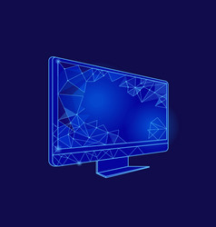 computer screen with geometric signs icon vector image