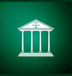 courthouse icon isolated on green background vector image