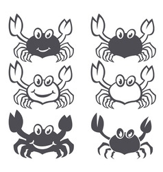 Crab sea food icon smile flat set vector image