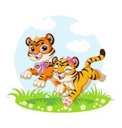 Cute cartoon little tigers running on a meadow vector