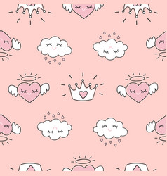 cute seamless pattern with hearts and love doodles vector image